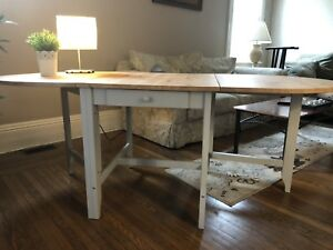 Gateleg Table, light antique stain, gray