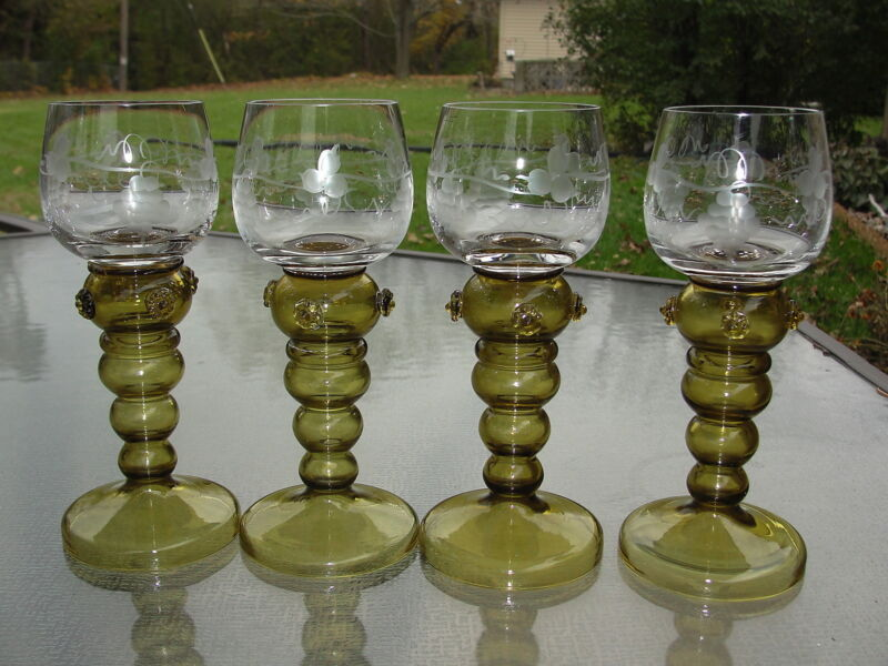 4 GERMAN Olive Green Hollow Stem ROEMER Rhine Wine Glasses Goblets