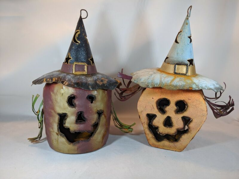 Halloween Metal Witch And Pumpkin Head Candle Holder Lantern Rustic HolidayDecor