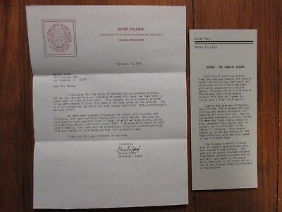MARSHA GRAEF(Died-'15)Signed 1988 Personal Letter-Bates College Basketball Coach