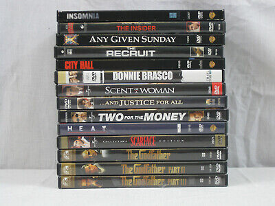 Al Pacino 14 movie DVD lot Godfather, Scarface, Heat, Scent of a Woman.. VG