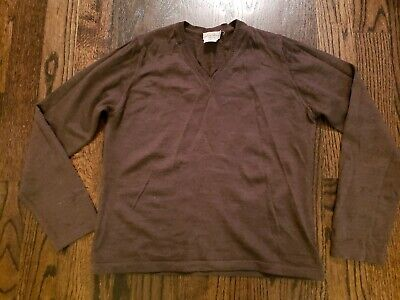 NWOT LINEA DONNA BROWN V-NECK 100% EXTRA FINE MERINO WOOL SWEATER ITALY - L