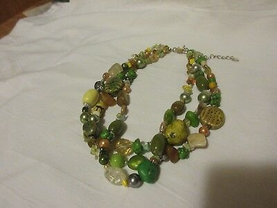 Vintage 3-Strand Green Toned & Clear Stones, Beads & Pearls