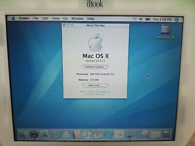 Apple iBook G3 M6411 Lime Green PowerPC 750 367MHz 576MB RAM 10GB HDD Mac OS