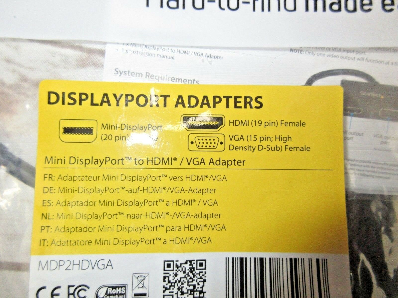 Startech  Adapter Mini Displayport To HDMI/VGA mdp2hdvga
