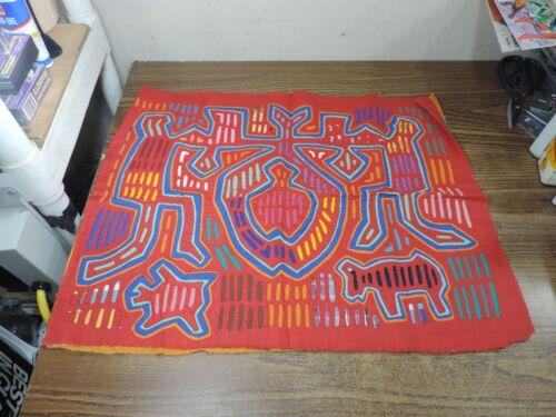 """Vintage Mola San Blas Applique Embroidery Kuna Textile 20x18"""""""