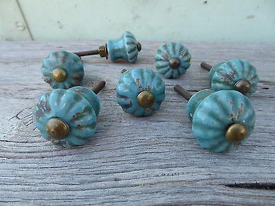 Blue Drawer Pull (Distressed Aqua Blue FLOWER Ceramic Knob Drawer Pull ~ Turquoise ~ Shabby)