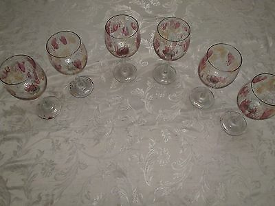 Set of 6 Beautiful Middle Eastern Crystal Wine Goblets