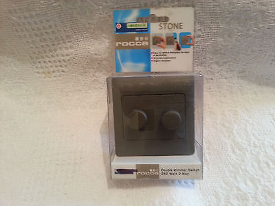 rocca 2 way double dimmer switch stone