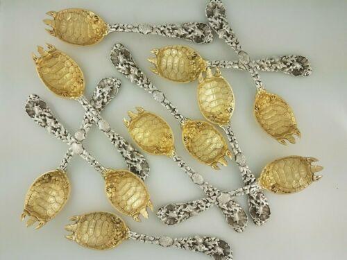 Rare Sterling GORHAM Terrapin Fork Turtle Bowl seaweed shells handle ~$495 each