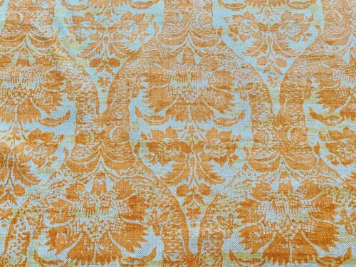 Vintage French Linen Hand Printed Fabric by the Yard  WW232