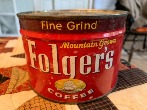 Vintage Folgers Coffee Can Sealed With Key Full 1lb Unopened