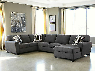 Modern Living Family Room Sectional Gray Fabric Large Sofa Couch Chaise Set IG2T