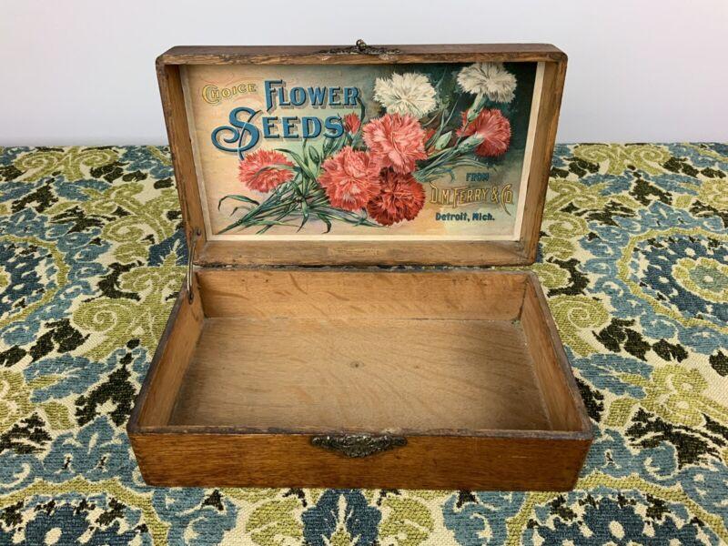Antique Choice Flower Seeds D. M. Ferry Flower Seed Merchant Display Wood Box