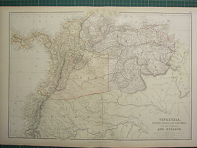 1882 LARGE ANTIQUE MAP ~ SOUTH AMERICA VENEZUELA UNITED STATES COLOMBIA ECUADOR