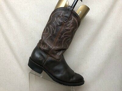 Double H Brown Leather Cowboy Western Boots Mens Size 10.5 3E Style 3282