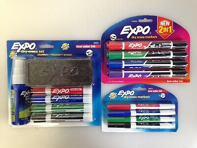 Lot Of 3 Expo 80653 Dry Erase Marker Starter Set Assorted 2-in-1 Extra Bag73