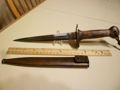 Scarce WWI Belgium Commando Fighting Combat knife, trench dagger w/ metal Sheath