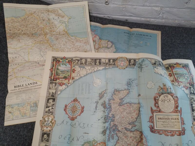 National Geographic Map Lot Of 3 Ireland S. America 1937 Bible Lands 1938