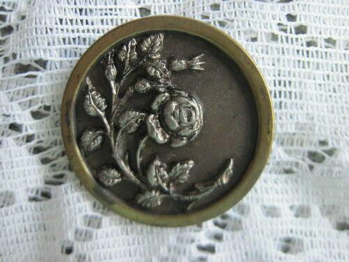 "4 Ornate Vintage Victorian Figural Trailing Rose Metal Buttons~1"""
