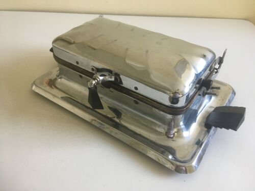 Antique Heatmaster Electric Waffle Maker W/ butter pan TESTED WORKS