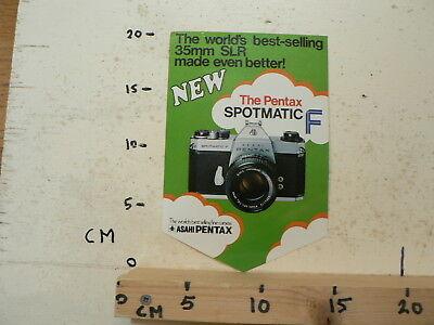 STICKER,DECAL ASAHI PENTAX SPOTMATIC F NEW CAMERA WORLD'S BEST 35 MM (Best Pentax 35mm Camera)