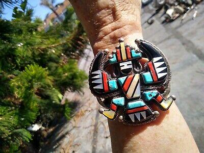 Zuni Trixter/ Spaceman Inlay Inspiring Cuff Bracelet 1930's Juan De Dios MAGICAL