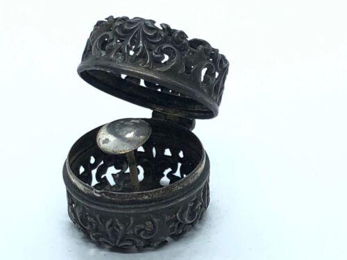 antique Floral Pierced Sterling Silver Thimble Case holder Chatelaine pendant B