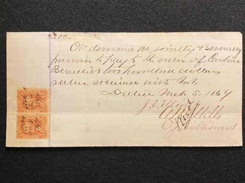 1869 $200.00 PROMISSORY NOTE+(2) 5 CENT SCOTTS# R24c REVENUE STAMPS+PERF ERRORS!