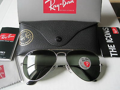 New RAY BAN Sunglasses Aviator RB3025 003/58 3P Silver Polarized on Rummage