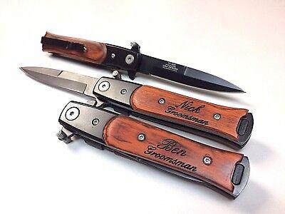 Groomsmen Pocket Knives - 2 Custom Engraved Pocket Knives, Personalized Groomsmen Gift, Stiletto, Best man