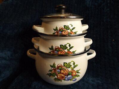 Porcelain Enamel Steel like Cookware pans bowls metal pots stove food prep  Porcelain Enamel Steel