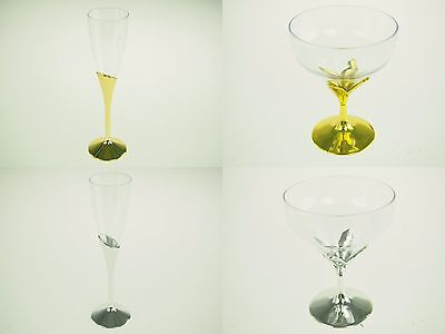 Plastic Cup Metallic Gold Silver Wine Champagne Wide Goblet Wedding Party - Plastic Gold Goblets