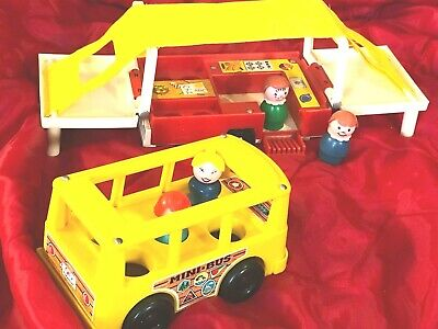 Vintage   Fisher Price   Mini Bus   &   POP-UP CAMPER  #992