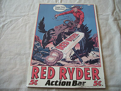RED RYDER ACTION CANDY BAR 5 CENT COWBOY HAMMERED TIN METAL SIGN