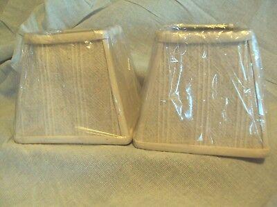 Natural White Beige Cream Striped Fabric Square 5 75  Mini Clip Lamp Shade Set 2