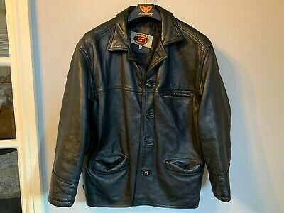 VINTAGE 90's GAPELLE DISTRESSED HEAVY LEATHER BOX JACKET SIZE L MADE IN THE UK