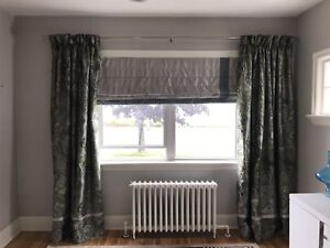 Black out blind, lined curtains and rod