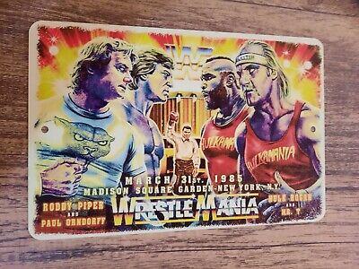 Wrestlemania Artwork Hulk Hogan Mr T Roddy Piper Paul Orndorff 8x12 Metal Sign