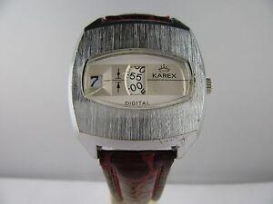 C188-034-Vintage-karex-Digital-034-scheibenuhr-Cuerda-manual-Pulsera-de-cuero
