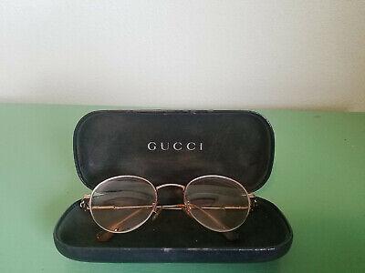 GUCCI Vtg Frame Eyeglasses Round Lens Spring Hinge SPECTACLES Folding Case Italy