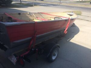 14 foot aluminum boat with trailer 2 motors and gear $3000