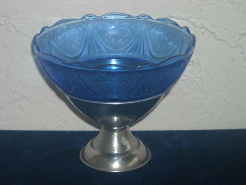 Royal Lace Sherbet in Metal Holder  Cobalt Blue
