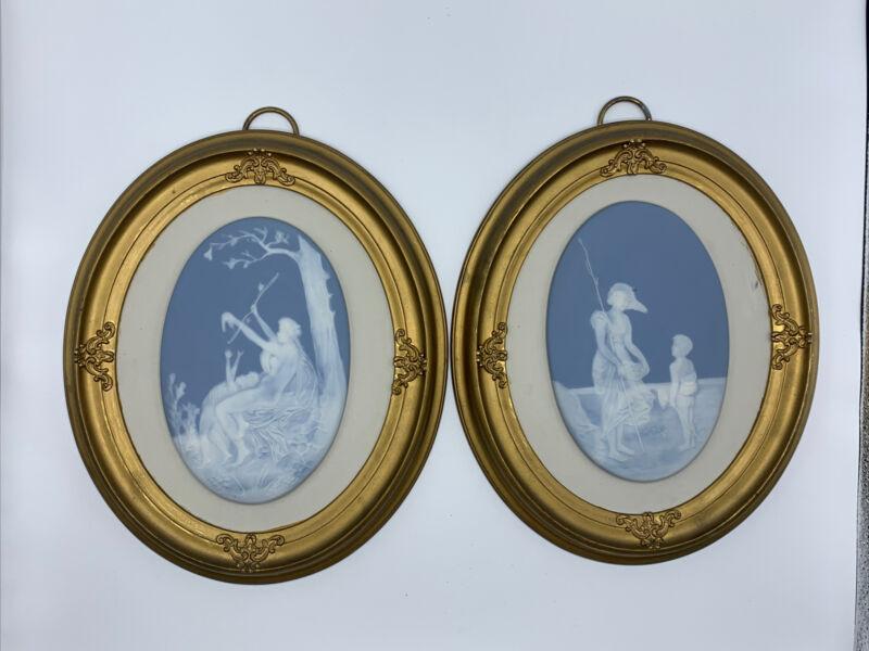"Pair Of Genuine Limoges Porcelain Cameos France Sungott Art Studios #761 12""x10"""