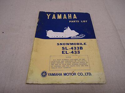 vintage yamaha snowmobile sl-433b/ el-433 illustrated parts manual