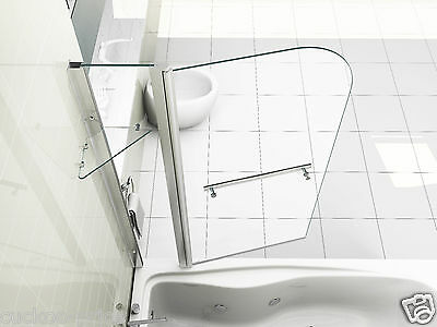 NEW 6mm GLASS DOUBLE OVER BATH SHOWER SCREEN WITH SHELF