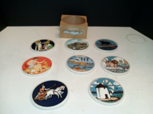 Smaltotechniki Coasters- Hand Made In Greece-Ceramik Vintage-Set Of 8 Moschato