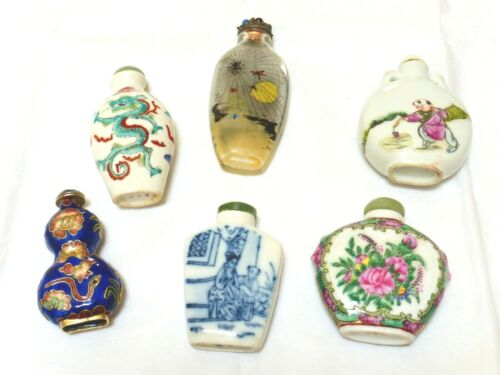 Estate Vintage Old Chinese Hand Painted Snuff Bottles, Lot of 6