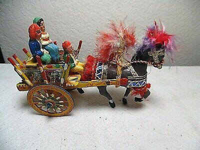 VNTG SICILIAN GYPSY FOLK ART HORSE & CART  ITALY W/GYPSY DRIVER & GYPSY RIDERS