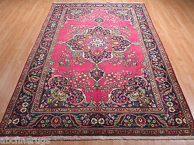 7x10 Persian Tabriz Vegetable Dye Handmade Knotted Wool Rug 580191